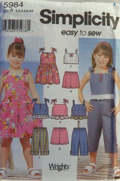 Simplicity 5984 Child's Dress, Top, Cropped Pants and Shorts