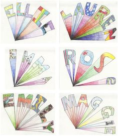 The Rolling Artroom: One-point Names Grade) Middle School Art, Art School, High School, 6th Grade Art, School Art Projects, Name Art Projects, Art Education Projects, Art Education Lessons, Ecole Art