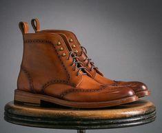 Men's Handmade Ankle High Tan Wing Tip Brogue