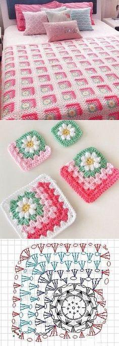 Transcendent Crochet a Solid Granny Square Ideas. Wonderful Crochet a Solid Granny Square Ideas That You Would Love. Crochet Motifs, Crochet Blocks, Crochet Squares, Crochet Afghans, Crochet Blanket Patterns, Crochet Stitches, Crochet Diagram, Afghan Patterns, Square Patterns