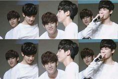 meanie omg <<< Mingyu can't keep his eyes off of Wonwoo