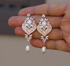 rose gold crystal bridal earring wedding long earring bridal rose gold jewelry wedding jewelry