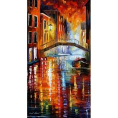 The Canals Of Venice Painting - The Canals Of Venice Fine Art Print - Leonid Afremov Venice Painting, Art Watercolor, Art Moderne, Leonid Afremov Paintings, Palette Knife, Oil Painting On Canvas, Painting Clouds, Painting Trees, Painting Inspiration