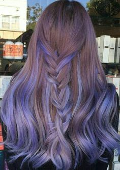 Two Color Hair, Ombre Hair Color, Hair Color Balayage, Cool Hair Color, Violet Hair, Lilac Hair, Burgundy Hair, Brown Hair, Balayage Highlights