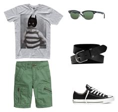 """""""T Shirt & Belt"""" by boyswardrobe ❤ liked on Polyvore featuring H&M, Converse, Ray-Ban and Old Navy"""