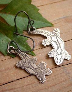 Gecko earrings, maori lizard sterling silver jewelry