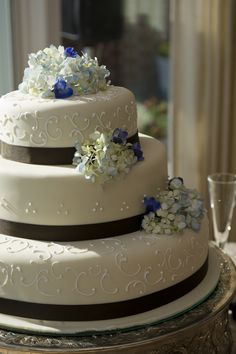 A white and black wedding cake