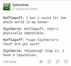 SlytherPuff: 20 Adorably Accurate Examples of the Slytherin & Hufflepuff Relationship Harry Potter Puns, Harry Potter Feels, Harry Potter Houses, Hogwarts Houses, Harry Potter Universal, Harry Potter World, Casas Estilo Harry Potter, Slytherin And Hufflepuff, Jenifer Lawrence
