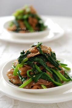 薑燒豬肉拌菠菜