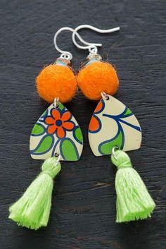 Orange and Green PomPom Earrings with Lime Green Tassel, Green Tassel Earrings, Felt Earrings, Felted Ball Earrings, Pom Pom Jewelry.
