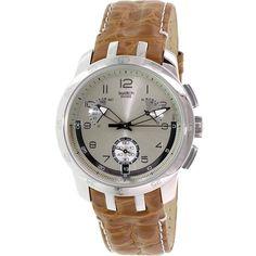 Swatch Men's Irony YRS401 Brown Leather Swiss Quartz Watch