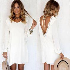 Idée comment adopter la robe bohème blanche robe d'été idée tenue été robe blanche courte avec manche