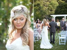 Country chic wedding. Love this boho headband.