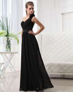 One Shoulder Floor Length Chiffon Bridesmaid Dress
