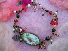 Broken China Bracelet Rose Lucite Flowers and by GratefulBeads, $20.00
