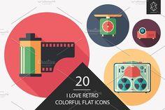 I love retro flat round icon set. #retro #retroicons #flaticons #vectoricons #flatdesign