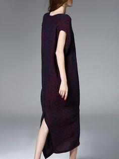 Red Simple H-line V Neck Midi Dress