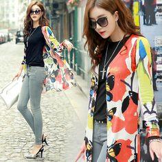 亮眼彩印蝴蝶長版針織外套#Korean#Fashion #Knit Coat