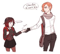 That rose jumper is so cute! This ship NEEDS to sink tho. >>> Bruh what if Roman had turned good and joined team rnjr? That would have bee ln so cool Rwby Anime, Rwby Fanart, Angel Of Death, Rwby Oscar, Neon Katt, Rwby Rose, Witchy Wallpaper, Rwby Blake, Character Art