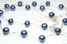 Wavy Royal Pearl Sterling Silver Necklace  Freshwater by catilla, $59.00