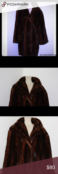 """Plus size vintage faux fur coat So pretty! Get the look of fur without the high price. Bust 62"""" waist 60"""" has pockets terry lewis Jackets & Coats"""