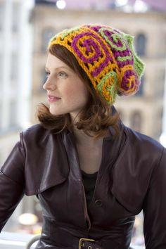 Get a bit wild this spring with this neon bright hat crocheted with slip stitch spirals.