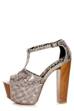 Jessica Simpson Dany Nude Suede T Strap Glitter Platform HeJessica Simpson Dany Pewter Woven Sequin Fabric Platform Heels - $99.00