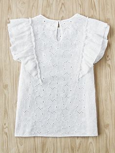 Online shopping for Buttoned Keyhole Flutter Sleeve Eyelet Embroidered Top from a great selection of women's fashion clothing & more at MakeMeChic. Party Fashion, Boho Fashion, Kids Fashion, Womens Fashion, Mode Outfits, Girl Outfits, Fashion Outfits, White Outfits, Classy Outfits