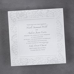 White Wedding Ideas - Lace Embrace - Invitation (Invitation Link - http://occasionsinprint.carlsoncraft.com/Weddings/Invitations/3150-FV13160-Lace-Embrace--Invitation.pro)