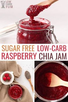 Low carb jam is one of the best chia seed recipes! This sugar free raspberry jam recipe has all the benefits of chia seeds. If you're looking for easy jam recipes, look no further than this simple chia berry jam recipe! Sugar Free Jam, Sugar Free Recipes, Jam Recipes, Jalapeno Recipes, Jelly Recipes, Low Sugar, Shrimp Recipes, Chia Jam Recipe, Easy Jam Recipe