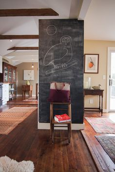 We're so on board with this chalkboard wall. – Jaw-Dropping Renovated Beach House in Cape Cod