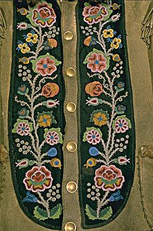 """The Métis decorated their clothing with fancy beadwork and floral patterns. They were so talented, in fact, that they became known as the 'Flower Beadwork People'. Native American Design, Native Design, Native American Crafts, Native American Indians, Native Beadwork, Native American Beadwork, Bordados Tambour, Native Art, Native Style"