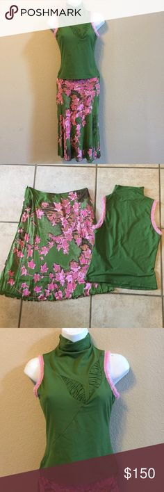 """Vintage Versace Top & Skirt 2 piece vintage set by Versace Jeans Couture. Ittierre spa. Skirt is size 26/40 and is 100% rayon and lining is 100% nylon. Top is size small and is 91% nylon 9% spandex blend. Skirt has a side zip. Waist across 13"""". Length 23"""". Top is a mock turtle style. Fitted and stretch style. Pink lace around arm holes. Size small. Pre owned. Please refer to a conversion chart and my sizes before purchasing. Verasace Jeans Couture Skirts Midi"""