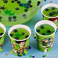 Toy Story Punch: Blueberries and star shaped ice cubes with food coloring. Lime punch... partycity.com