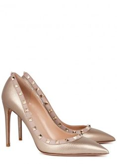 Oh my! Rockstud Valentino gold grained leather pumps.