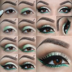 #ShareIG Step by step!❄️ 1-Apply a white base on the lid (I use the Milk jumbo by Nyx); 2-Apply the green e/s on the outer half part of the lid (I use Jelly by @Make Up Store but also a light blue or a teal would be nice); 3-Apply the ivory e/s to the jnner part of the lid and inner corner (Etoile by NeveCosmetics); 4-Apply the brown e/s to the crease and blend well (Espresso by NeveCosmetics); 5-Use the same green e/s to create a line along the lower lash line as a base; 6-Apply the glitter…