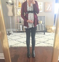 StylishPetite.com | Burgundy drapey open cardigan, polka dot blouse, black leggings, over the knee stuart weitzman leather boots, black bow belt, maternity outfits, fall outfits, winter outfits, petite pregnant outfits