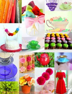Bridal tea party rainbow red blue yellow green pink purple violet shower baby shower