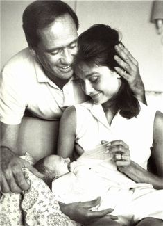 Audrey Hepburn pictured with her husband, Mel Ferrer and new born son, Sean Hepburn Ferrer. Audrey gave birth to Sean on July 17, 1960.