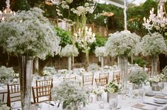 Centerpieces. Love the height variation. Elegant wedding with babys breath