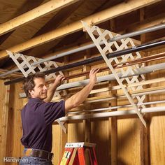Lattice Rack - Plastic lattice works well in the garage for storing long lengths of miscellaneous pipe, trim, flashing and conduit. Just cut matching pieces, then screw 2x4 cleats to the ceiling and screw the lattice to the wall studs and cleats. Now you can quickly find those oddball leftovers instead of going to the hardware store and buying yet another piece.