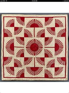 So Graphic 19th C Blue And White Oak Leaf Quilt 84