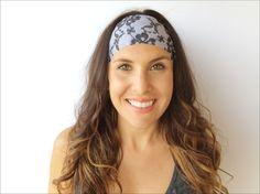 Flowers & Lace Yoga Headband, Fitness, Running, Womens, Wide Headband, Boho, Workout, Accessories, Crossfit Printed Headband
