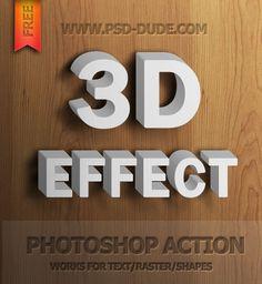 Free 3D Text Photoshop Action | PSDDude