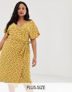 6ba7d47400b Boohoo Plus exclusive tie side midi dress in yellow floral