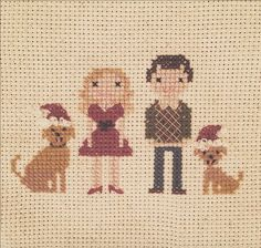 Lauren Conrad's cross stitch Christmas card is too cute.