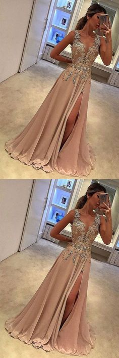 Sexy Prom Dress,Deep V Neck Prom Dresses with Split Side,Appliques Prom Gowns,A Line Prom Gown,Long Prom Dress G061