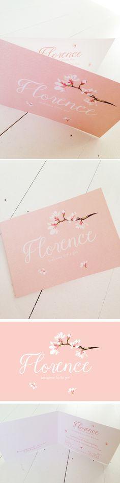 Geboortekaartje voor een echt meisje Roos // pink // flowers // bloomed // Florence // mosstudio // little girl // welcome