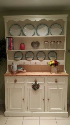 An imposing solid pine welsh dresser with 5 spice drawers,  finished with Farrow & Ball White Tie - gorgeous!!