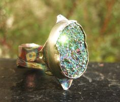 Peacock Drusy Ring